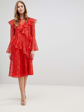 c9f5dbbd1afa Asos ASOS Lace Midi Dress with Ruffles and Fluted Sleeves - Orange