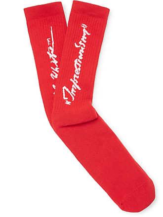 Off-white Logo-intarsia Stretch Cotton-blend Socks - Red