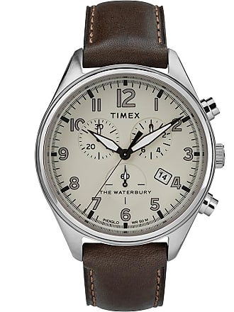 Timex Watch Mens Waterbury Traditional Chronograph 42MM Leather Strap Stainless Steel/brown/tan Item Tw2R88200Vq