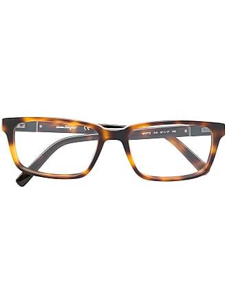 Salvatore Ferragamo Armação de óculos retangular - Marrom