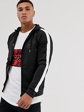 Hype sleeve stripe zip thru hoodie-Black