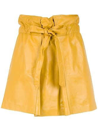 2d598680e Andrea Bogosian Mini saia de couro com amarração - Amarelo