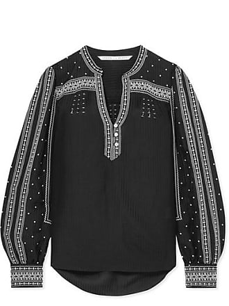 Veronica Beard Carta Embroidered Silk-blend Blouse - Black
