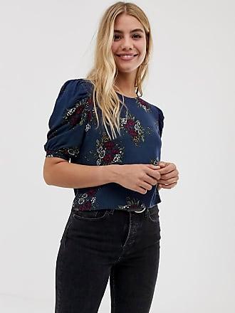 Parisian floral short sleeve blouse - Navy