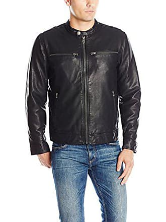 Lucky Brand Mens Adison Faux Leather Moto Jacket, Black, Large