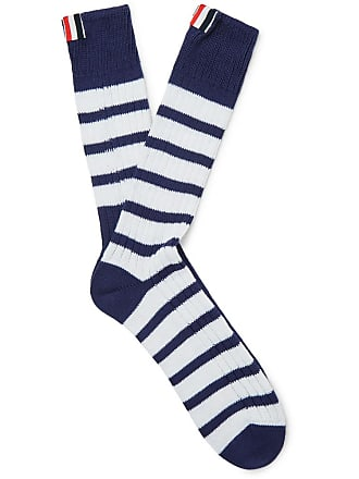Thom Browne Striped Ribbed Cotton Socks - Navy
