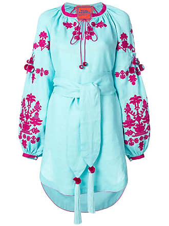 Yuliya Magdych Ponpon embroidered mini dress - Blue