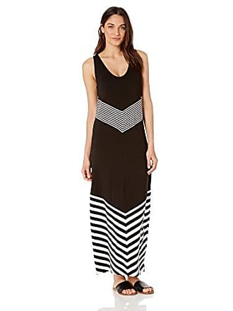 La Blanca Womens Lace Cover Up Tank Dress, Black//fine line, L