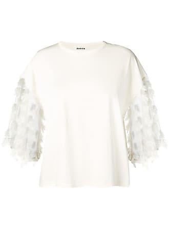 Zucca Camiseta com penas na barra - Branco