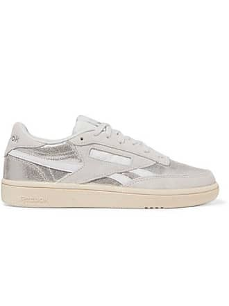 on sale fb480 4674e Reebok Revenge Plus Metallic Leather And Suede Sneakers - Silver