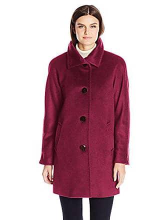 Ellen Tracy Outerwear Womens Angora Blend Kimono Rabbit Fur Wool Coat, Currant, 4