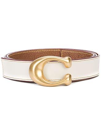Coach sculpted C reversible belt - White