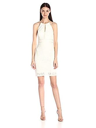 Xscape Womens Short Lace Dress with Strappy Back, Ivory 4