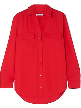 Equipment Signature Washed-crepe Shirt - Red