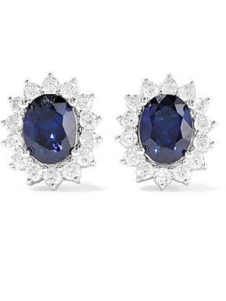 Kenneth Jay Lane Cz By Kenneth Jay Lane Woman Rose Gold And Rhodium-plated Crystal Earrings Blue Size
