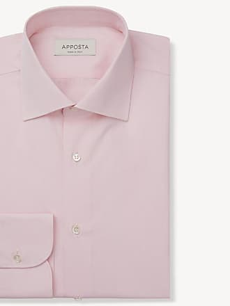 Apposta Shirt solid pink 100% pure cotton poplin double twisted, collar style semi-spread collar