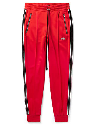 Amiri Slim-fit Tapered Leather-trimmed Tech-jersey Sweatpants - Red