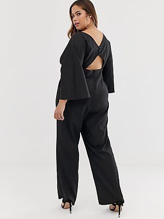 981ee359055 Outrageous Fortune Plus Kimono Top jumpsuit in black - Black