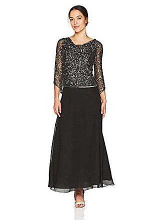 J Kara Womens Petite Long Beaded Dress with Cowl Neck, Slate/Mercury/Silver, 16P