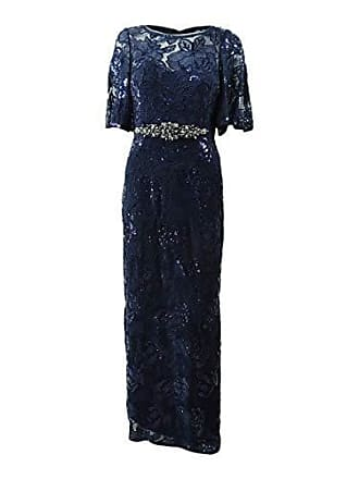 42ed4f6a4ff Adrianna Papell Womens 3 4 Sleeve Metallic Sequin Embroidered Gown