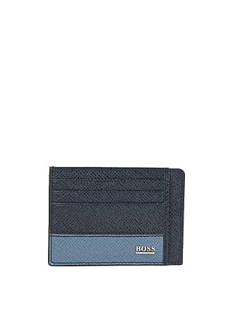 BOSS Hugo Boss Signature Collection card case in printed palmellato leather One Size Dark Blue