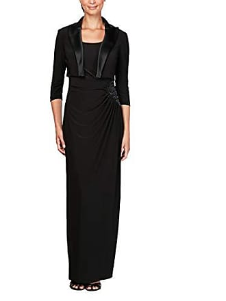 Alex Evenings Womens Ruched Dress with Bolero Jacket (Petite and Regular Sizes), Black Satin, 10