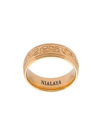 Nialaya Anel gravado de aço inoxidável - Amarelo