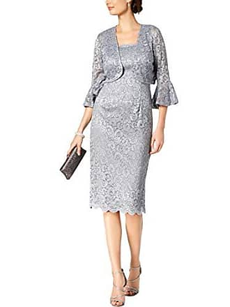 Alex Evenings Womens Short Shift Jacket Dress with Bell Sleeves (Petite and Regular), Silver, 16