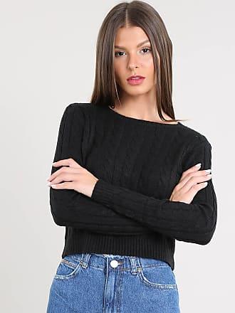 Basics Suéter Feminino Básico Cropped em Tricô Preto