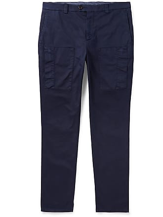 Brunello Cucinelli Herringbone Stretch-cotton Cargo Trousers - Navy