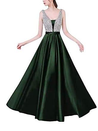 41f67da7e7e14c Minetom Damen Festlich Hochzeit Kleider Glänzend Elegant Lang Abendkleid  V-Ausschnitt Ärmellos A-Linie