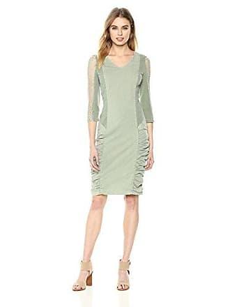 Xcvi Womens Arya Dress-Stretch Poplin, Military Olive Pigment, Large