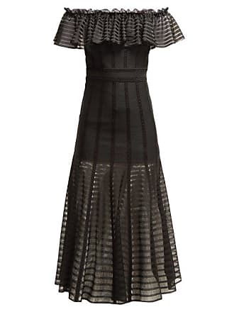 f3bedf6ca99f7 Alexander McQueen Alexander Mcqueen - Off The Shoulder Stripe Knitted Midi  Dress - Womens - Black