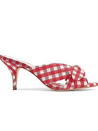 Loeffler Randall Loeffler Randall Woman Knotted Gingham Organza Mules Red Size 6.5