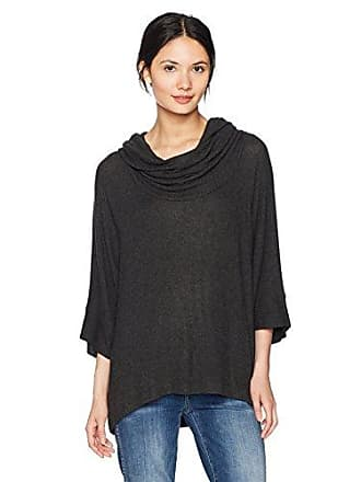 Three Dots Womens Brushed Sweater Oversized Short Loose Shirt, Charcoal, Medium