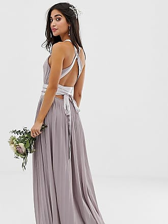 Tfnc Petite pleated maxi bridesmaid dress with cross back and bow detail in gray - Gray
