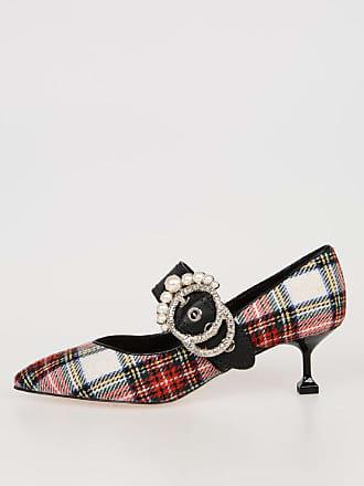 Miu Miu 6cm Jewel Details Checked Shoes size 39,5