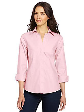 6181fb58365 Foxcroft Womens Taylor Essential Non-Iron Blouse, Chambray Pink, 14