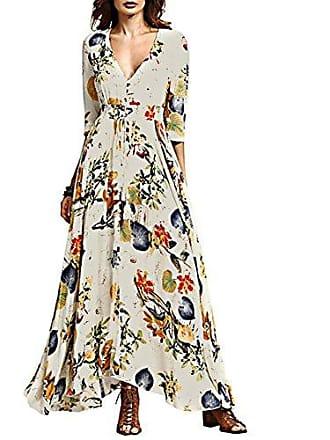 bc94c8fdfc5ac4 iShine iShine Sommerkleider Damen Lang V-Ausschnitt Kleid Boho Maxikleid  Strandkleid-WT-L