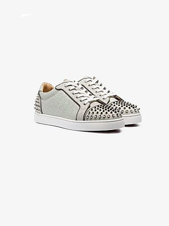 80d958bc2a8 Christian Louboutin grey Seavaste 2 Orlato spike-embellished low-top  leather sneakers
