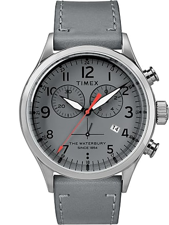 Timex Watch Unisex Waterbury Traditional Chronograph 42MM Leather Strap Stainless Steel/gray/gray Item Tw2R70700Vq