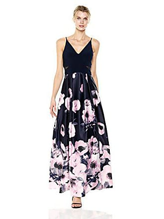 Xscape Womens Printed Ball Gown, Navy Lilac, 6