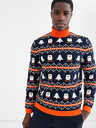 Asos Kersttrui met col en pinguïnmotief-Blauw