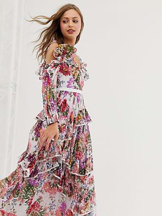 Needle & Thread Schouderloze lange jurk met ruches en bloemenprint-Wit