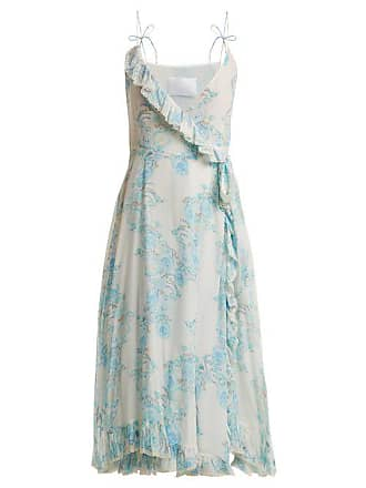 Athena Procopiou Walking On A Dream Floral Print Silk Wrap Dress - Womens - Blue White