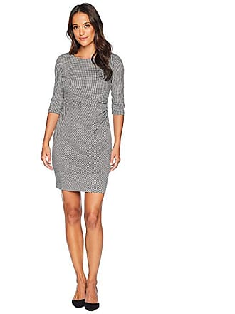 Ralph Lauren Pee Houndstooth Knit Cierra 3 4 Sleeve Day Dress Black White