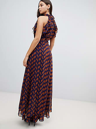 12f5b5d860e Prettylittlething sleeveless frill detail maxi dress in chevron print -  Multi