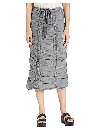 Xcvi Stretch Poplin Double Shirred Panel Skirt (Nocturne Pigment) Womens Skirt
