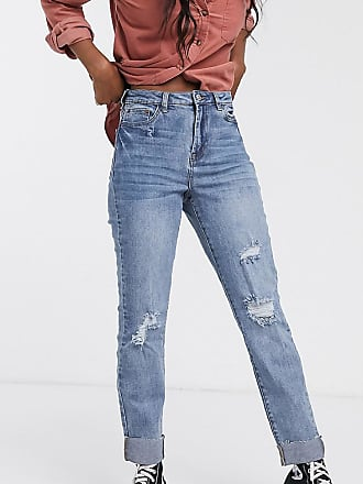 Urban Bliss straight leg jeans with rips-Blue