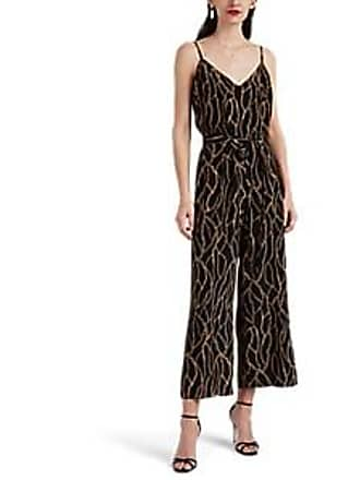 4ebe02d0b99b L agence Womens Jaelyn Chain-Print Silk Jumpsuit - Black Size 10
